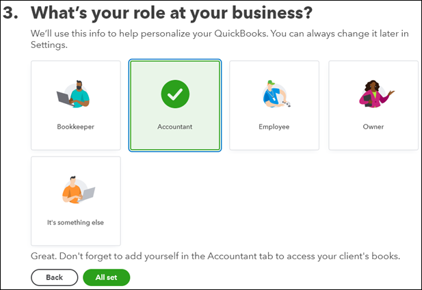 what's your role at your business screen