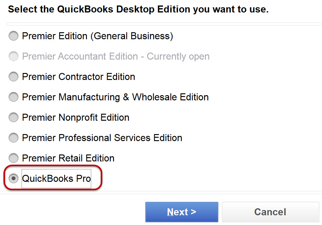 Select the QuickBooks Edition you want to use