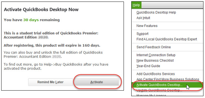 Left figure: Activation screen. Right figure: Help toolbar with the Activate QuickBooks Desktop option highlighted