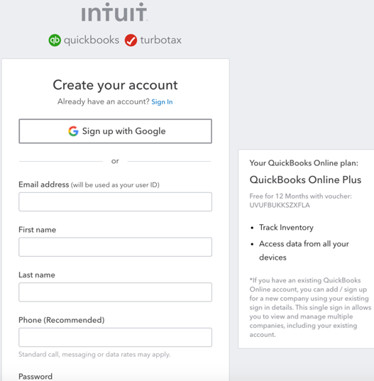 Create Your Account screen
